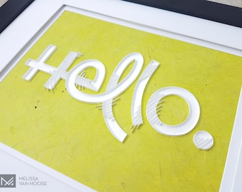 Hello. | Quilled Paper Wall Art in Bright Green