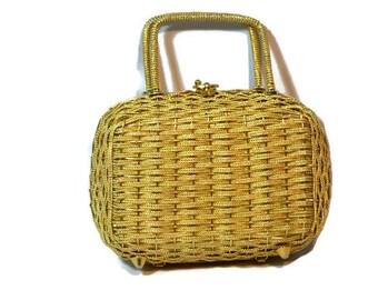 Vintage Wedding, Box Bag, Gold Woven Handbag, Retro Handbag