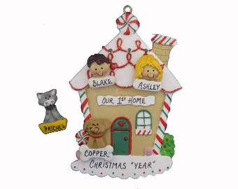 Custom Personalized Our 1st Home Ornament - Personalized Our 1st Home with Dog or Cat Added - Our First Home Personalized Ornament