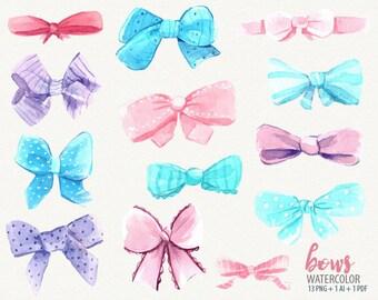 Watercolor bow, bow clip art, pink aqua bows, watercolor clip art, vector bow
