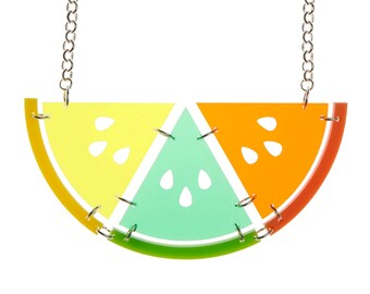 Citrus Slice necklace - laser cut acrylic