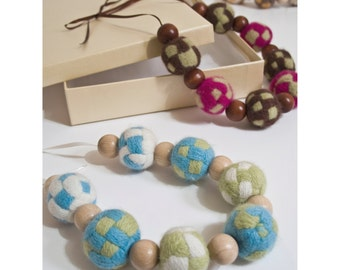 Chunky hand woven and felted lambswool necklaces