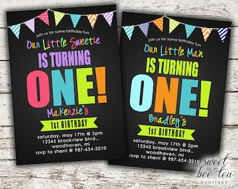 Baby Boy or Girl Birthday Invitation - Printable Invite - First 1st Birthday One - Bunting Flags