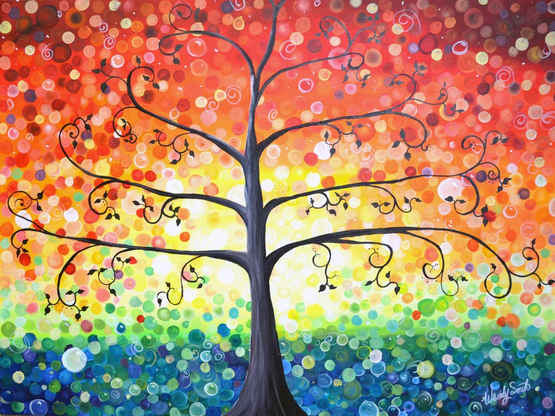 Rainbow Dot Tree Of Life Print Colorful Art