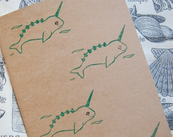 A4 Hand Printed Magical Dino Narwhal Lined Notebook