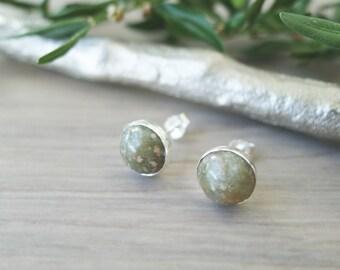 Unikite Earrings, Unikite Studs, Sterling Silver Studs, Natural Stone, Unikite, Simple Earrings, Neutral Jewelry, Modern Studs, Green