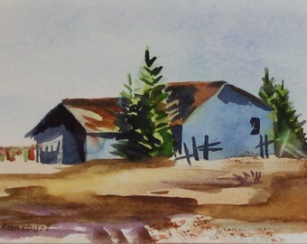 Rural Clothesline Painting. Country Clothesline watercolor. Homestead painting. Clothesline farmhouse watercolor. Signed, mat 8x10 not print