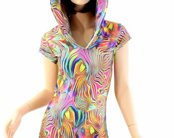 Tropical Swirl Print Cap Sleeve Bodysuit Romper with Self-Lined Hood Rave Festival Clubwear 151204