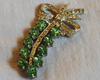 Vintage Brooch - 1930s or 1940s, Pot Metal Brooch, Clear Rhinestone Bow with Large Green Rhinestones