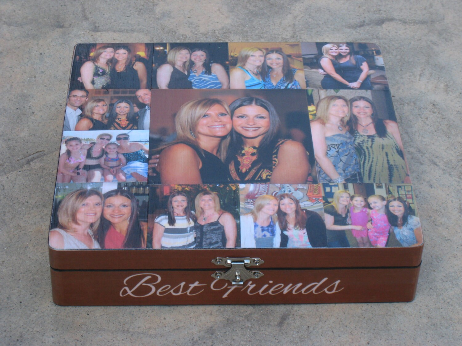 Best friends photo collage keepsake box unique maid of honor for Funky household gifts