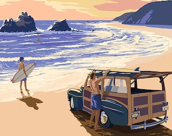 Half Moon Bay, California - Woody On The Beach (Art Prints available in multiple sizes)