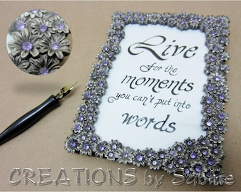 "Framed Calligraphy, Inspirational Gift Quote 'Live' Handwritten Original Art Vintage Silver Picture Frame Purple Flowers 5x6.5"" Frame (408)"