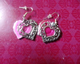 Pink and silver heart earring