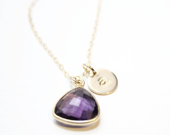 February amethyst  initial necklace, gold February amethyst gemstone necklace, February amethyst jewelry, amethyst jewelry, amethyst stone