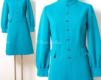 Mod Dress, Vintage Turquoise Dress, Mad Men Dress, Vintage turquoise Dress, Mod turquoise Dress, 60s Turquoise Dress, 60s Knit Dress - S