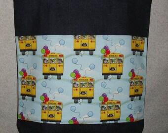 New Handmade Large Denim Tote Bag School Bus Teacher Theme