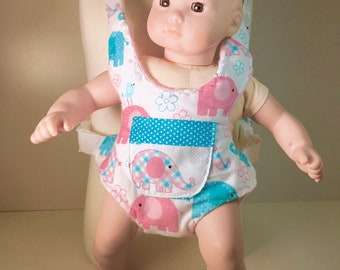 Doll size Carrier in Elephants on Parade with Pink Fleece lining