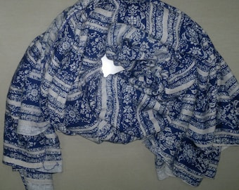 Square Scarf Rayon Scarf Indian Scarf Blue and White Scarf