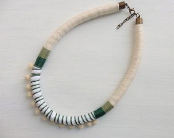 Pompom necklace, rope necklace, gift for her, pom pom jewelry, boho jewelry, statement necklace, summer jewelry, hippie chic,