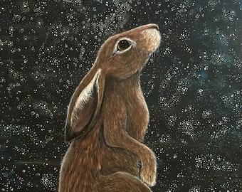 Waiting in Wonder ~ Hare and Stars Archival Art Print Illustration/Children's Wall Art/A4 print/Stars/lunar hare/moon gazing hare/art gift