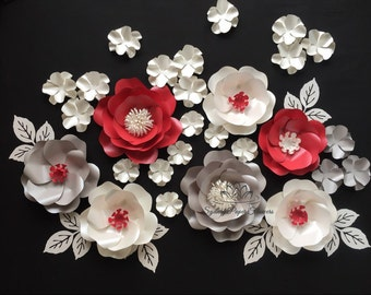 Red and White Wild rose Paper flower set/Paper flower wall/Wedding Backdrop/Backdrop /Baby shower/Sweet table/Christening /Dessert table