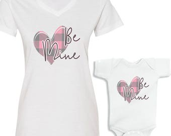 Be Mine Valentine Pink Plaid Heart Mommy and Me Shirts Set