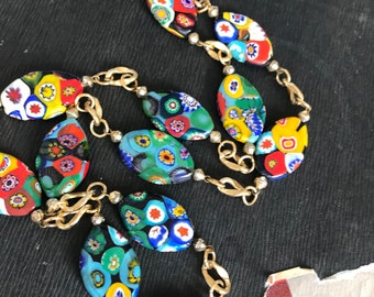 Millefiore beads on necklace from 1970's