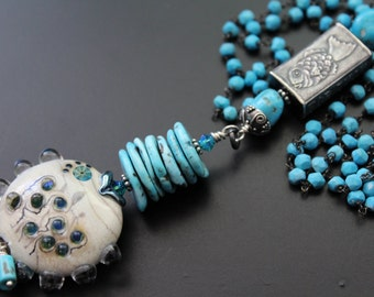 Anne Choi fish bead necklace genuine turquoise necklace turquoise jewelry lampwork fish long necklace Nacozari and Castle Dome turquoise