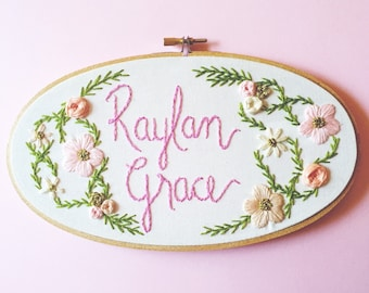 Custom Baby Name Embroidery Hoop. Floral Nursery Decor. Baby Shower Gift. Newborn Baby Present. Gift for Baby. Embroidery Hoop Art by KimArt