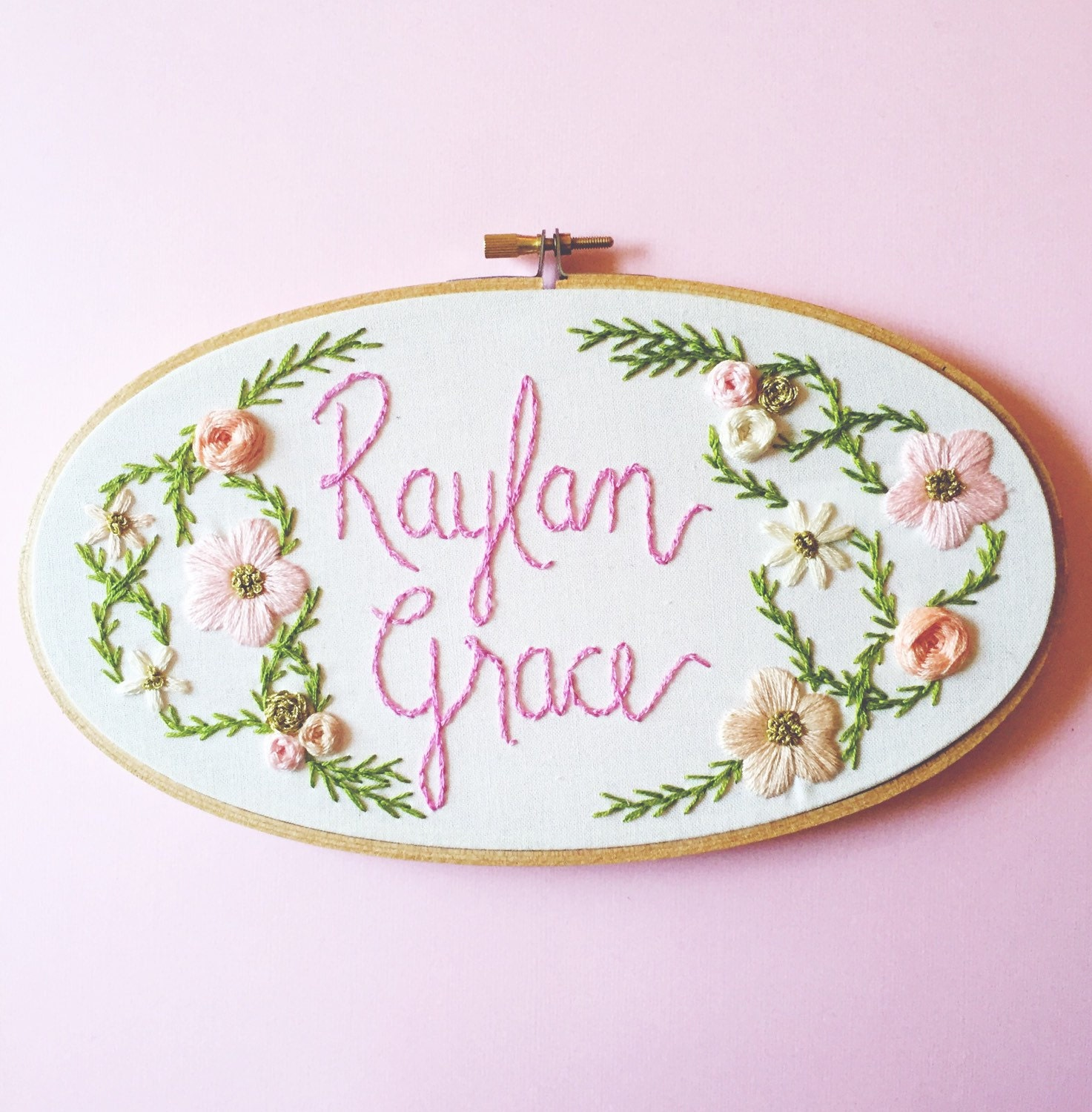 Custom baby name embroidery hoop floral nursery decor baby zoom negle Image collections