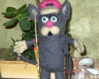 Fisher Сat/Felted Cat/Waldorf Toy/Needle Felted Cat/Needle felted animal/Wool Felt Cat/Felt cat/Wool cat/Felt Decorations/Made toOrder/Toys