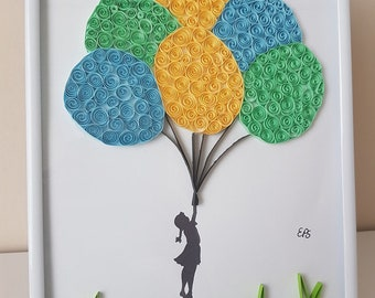 Little girl with the balloons - fantasy paper quilling