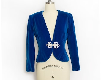 Vintage 1960s Jacket - Blue Velvet Fitted Cropped 60s - Small S