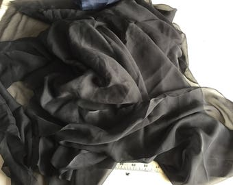 100% Silk Chiffon, Black, sheer with flow and very soft, 1 1/2+ yard piece, made in Italy