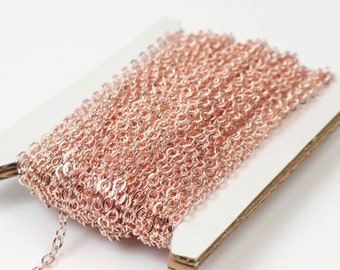 New 32 feet ROSE Gold Plated Flat Soldered Cable Chain - 3.4x2.9mm SOLDERED Link - Ship from California USA