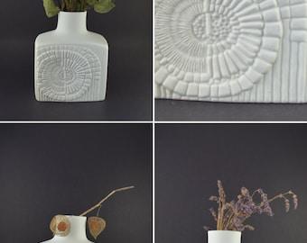 Matte White Vase, Bisque Porcelain Vase, Vintage Bisque Vase, Mid Century Fossil Relief Vase, 303 AKKaiser Porcelain, West Germany 70's Vase