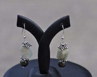 Rough Aquamarine and Swarovski Pearl Earrings with Bali Silver