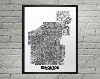Edmonton Alberta Neighbourhood Typography City Map Print