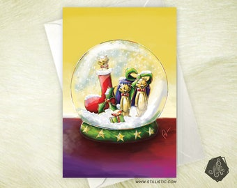 Christmas new year Meerkat greeting card and snow globe