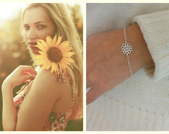 Sterling Silver Sunflower Bracelet, Dainty Bracelet, Minimalist Jewelry, Silver Flower, Gift for Best Friend, Thin Silver Bracelet, Layering