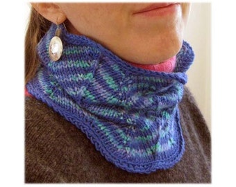 Pattern- One-Day Neckwarmer  with Chevron Styling - PDF Download
