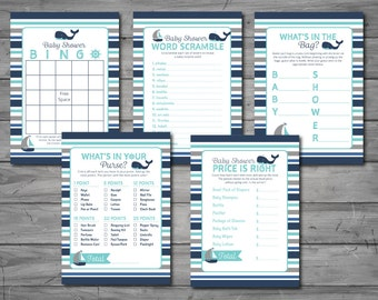 Nautical Baby Shower Games, word scramble, what's in the bag, price is right, what's in your purse, bingo, printable, DIY printing