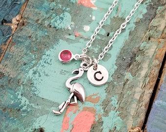 Flamingo Necklace, Flamingo Jewelry, Flamingo Gift, Bird Necklace, Tropical Jewelry, Beach Necklace, Personalized Flamingo Neckalce