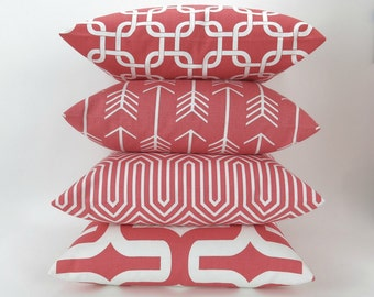 Coral Throw Pillow Cover -MANY SIZES- Mix/Match Patterns by Premier Prints, Euro Sham, Lumbar, Decorative Throw, Coral White Decor