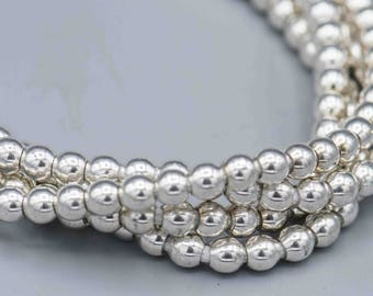 """150 5mm Smooth Round Silver Plated Beads with 2mm Hole 24"""" Strand SKU-MRD5S-2"""