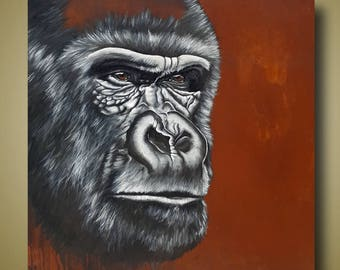 PRINT or GICLEE Reproduction -- Male Gorilla 12x12 -- Congo Fading I by Britt Hallowell