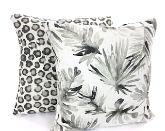 Taupe Designer Pillow Covers Decorative Throw Pillows Palm Leaf Animal Print Tan Taupe Cushions Tropical Decor Basketweave Flax Set of Two