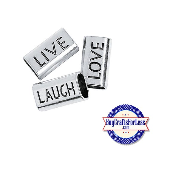LiVE, LAUGH oe LoVE Large SLIDE Beads +FREE Shipping & Discounts*