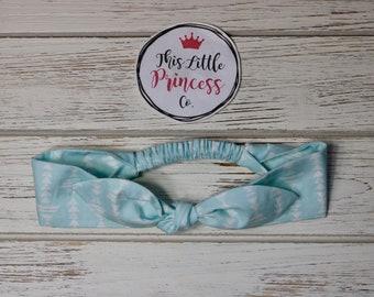 Blue Directional Tie Up Elastic Headbands, Top Knot Headband, Girls Headbands, Knot Headbands, Baby & Toddler Headbands, Womens Headbands