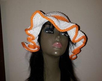 Woman's Crochet Two-Tone Orange and White Cotton Summer Sun Hat/ Floppy Hat/ Beach Hat.